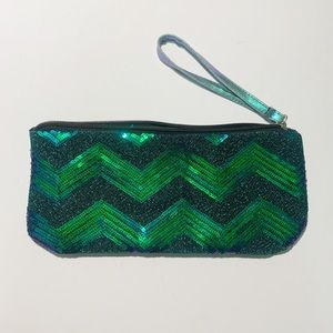Handbags - Green and Blue Sequin Wristlet